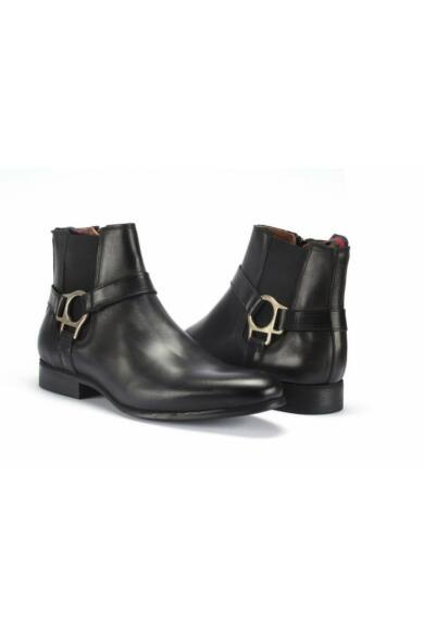 DOMENO valódi bőr elegáns magas szárú férfi cipő, fekete, DOM222