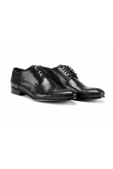 DOMENO valódi bőr alkalmi férfi cipő, fekete, DOM240
