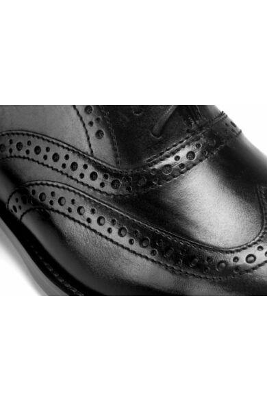 DOMENO valódi bőr alkalmi férfi cipő, fekete, DOM241