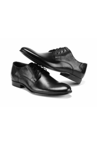 DOMENO valódi bőr alkalmi férfi cipő, fekete, DOM244