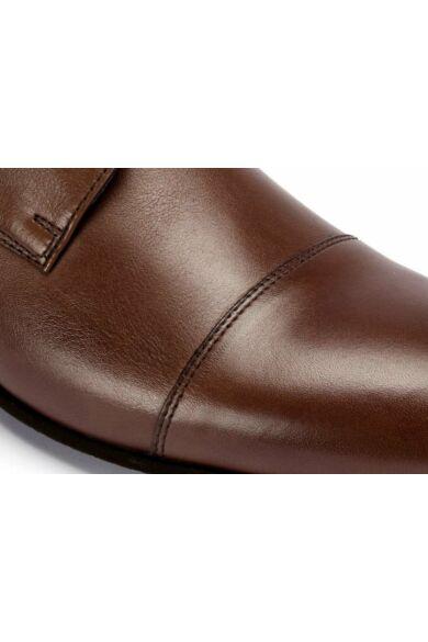 DOMENO valódi bőr elegáns férfi félcipő, barna, DOM261