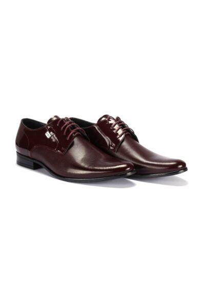 DOMENO lakozott bőr alkalmi férfi cipő, bordó, DOM278