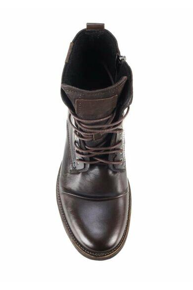 DOMENO valódi bőr elegáns magas szárú férfi cipő, barna, DOM306
