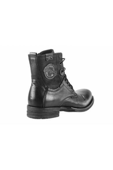 DOMENO valódi bőr elegáns magas szárú férfi cipő, fekete, DOM315