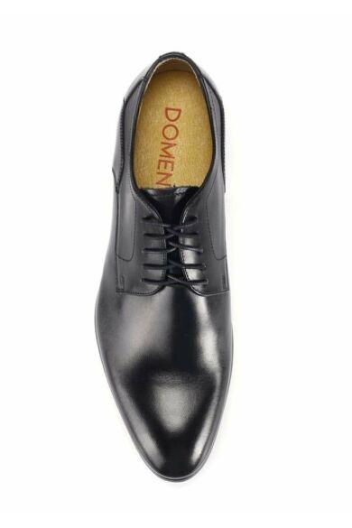 DOMENO valódi bőr alkalmi férfi cipő, fekete, DOM335