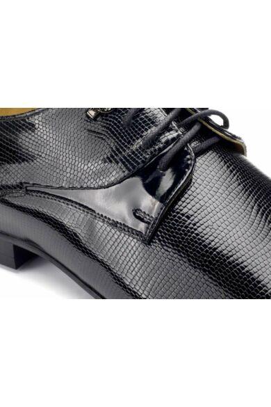 DOMENO lakozott bőr alkalmi férfi cipő, fekete, DOM341
