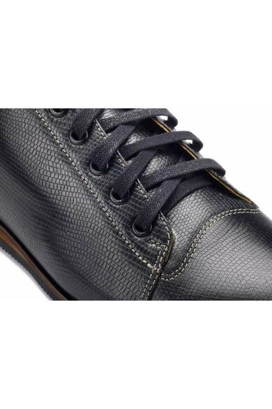 DOMENO valódi bőr elegáns férfi félcipő, fekete, DOM342