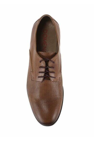 DOMENO valódi bőr elegáns férfi félcipő, barna, DOM380