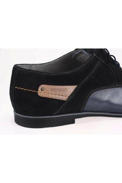 DOMENO valódi bőr elegáns férfi félcipő, kék/fekete, DOM392