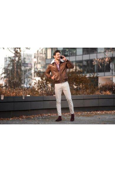 DOMENO velúr elegáns magas szárú férfi cipő, barna, DOM42