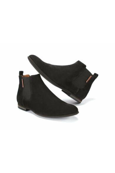 DOMENO velúr elegáns magas szárú férfi cipő, fekete, DOM43