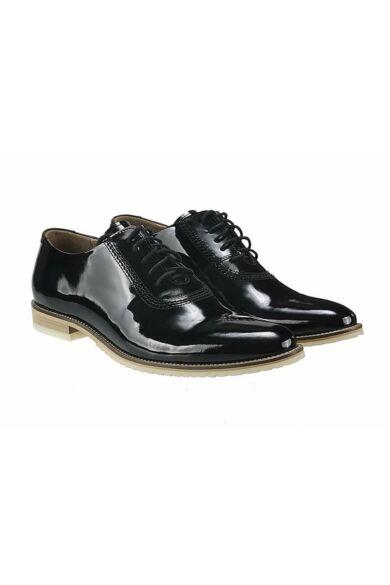 DOMENO lakozott bőr elegáns férfi félcipő, fekete, DOM476