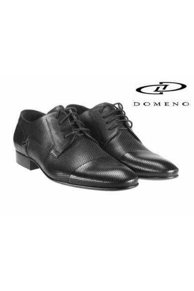 DOMENO valódi bőr elegáns férfi félcipő, fekete, DOM524