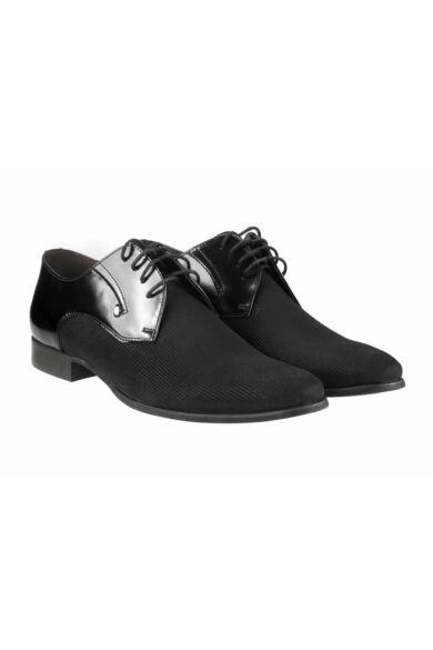 DOMENO valódi bőr elegáns férfi félcipő, fekete, DOM547