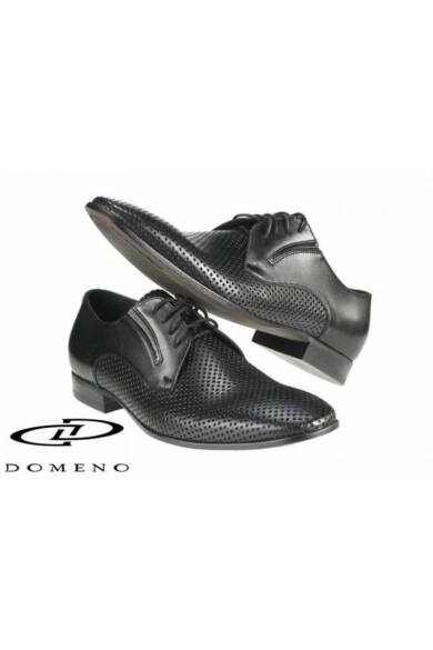 DOMENO valódi bőr elegáns férfi félcipő, fekete, DOM553