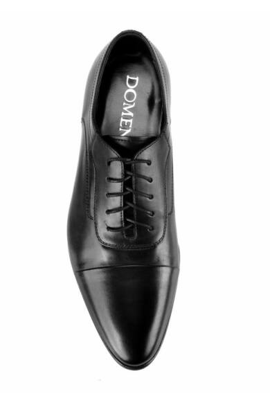 DOMENO valódi bőr alkalmi férfi cipő, fekete, DOM656
