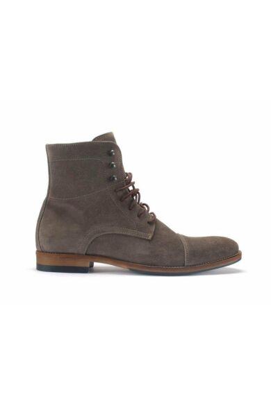 Velúr elegáns magas szárú férfi cipő, bézs, DOM67