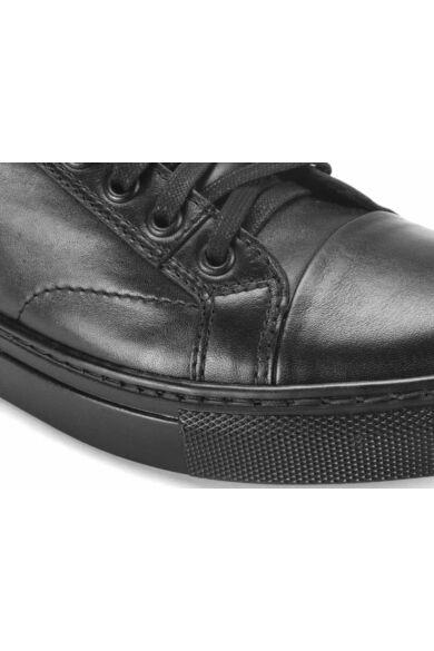 DOMENO valódi bőr elegáns férfi félcipő, fekete, DOM75