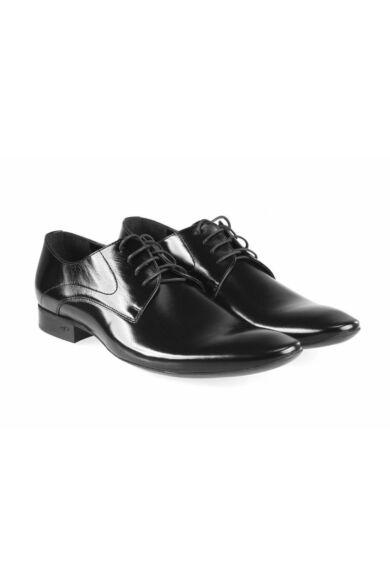 DOMENO valódi bőr elegáns férfi félcipő, fekete, DOM789
