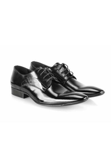 DOMENO lakozott bőr alkalmi férfi cipő, fekete, DOM831