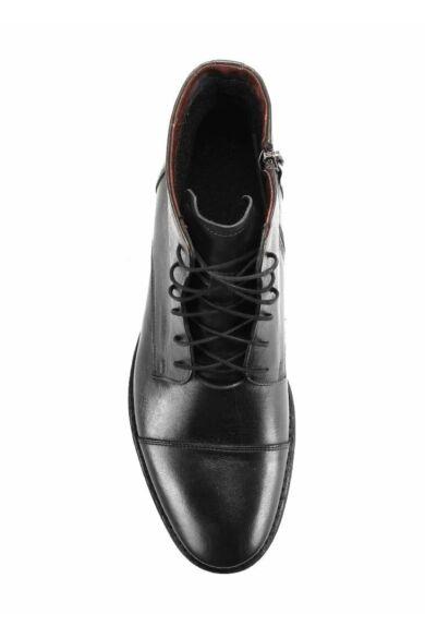DOMENO valódi bőr elegáns magas szárú férfi cipő, fekete, DOM835