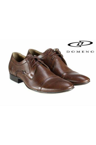 DOMENO valódi bőr elegáns férfi félcipő, barna, DOM896