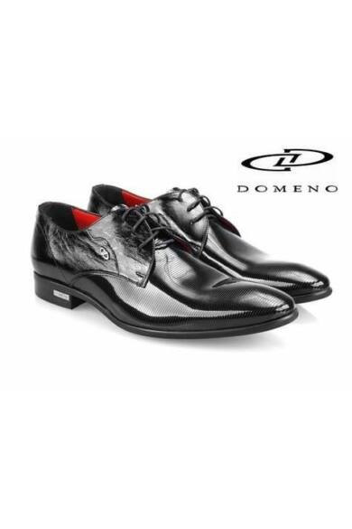 DOMENO valódi bőr elegáns férfi félcipő, fekete, DOM901
