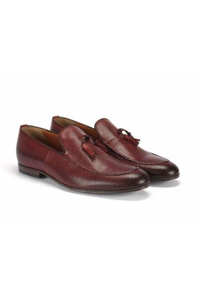 DOMENO valódi bőr elegáns férfi félcipő, bordó, DOM993