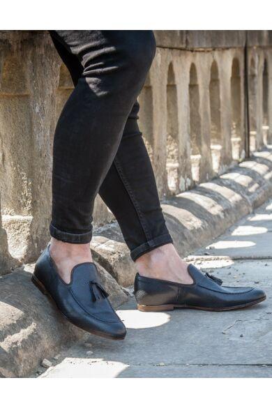DOMENO valódi bőr elegáns férfi félcipő, kék, DOM994