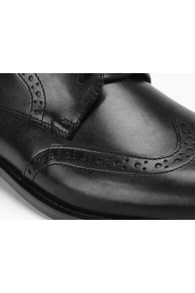 DOMENO valódi bőr alkalmi férfi cipő, fekete, DOM998