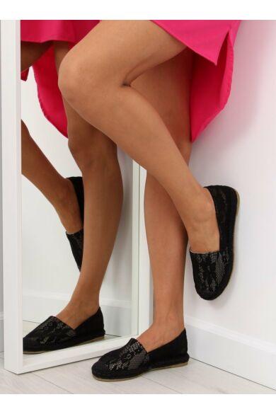 Női szandál (BB15P), fekete, lapos talpú