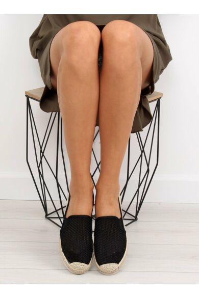 Női szandál (BB03P), fekete, lapos talpú