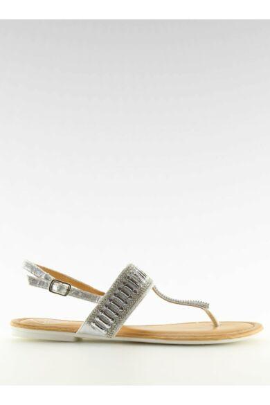 Női szandál (6700), ezüst, lapos talpú