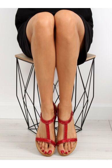 Női szandál (FM5035), piros, lapos talpú