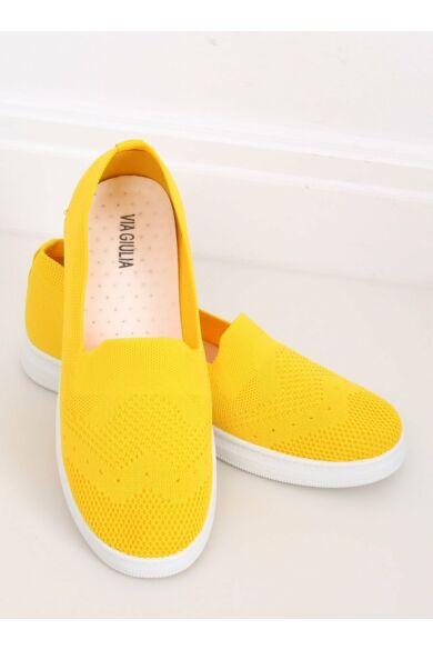 Női hasított műbőr félcipő (ZK069), sárga