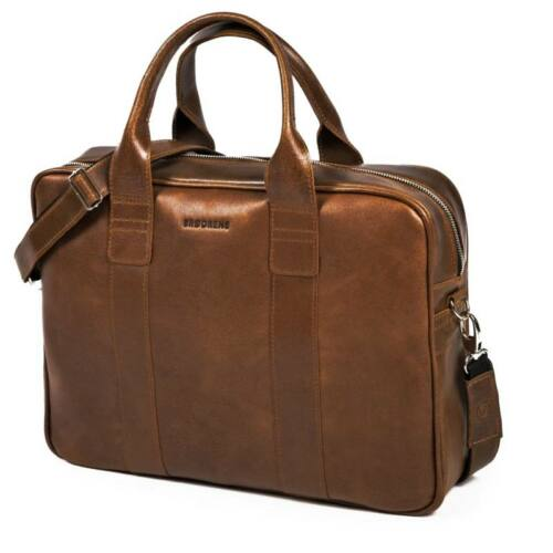 Brodrene férfi bőr laptop táska barna