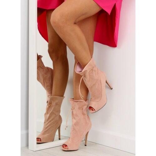 Női bokacsizma sarokkal (sy15), rózsaszín